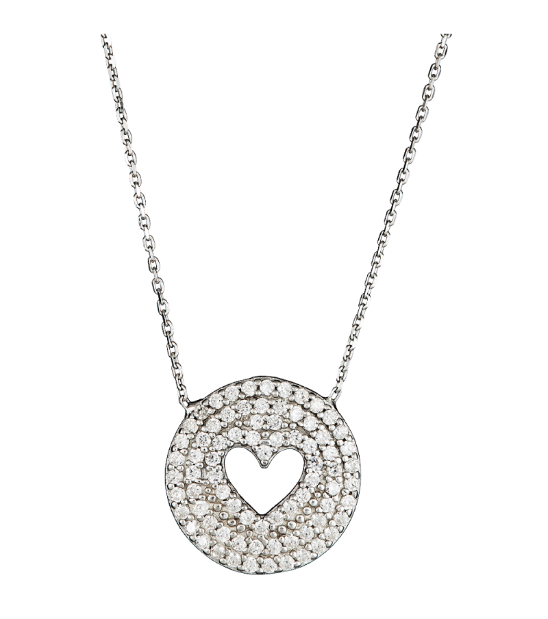 Silver Heart Round Pendant PNG Image