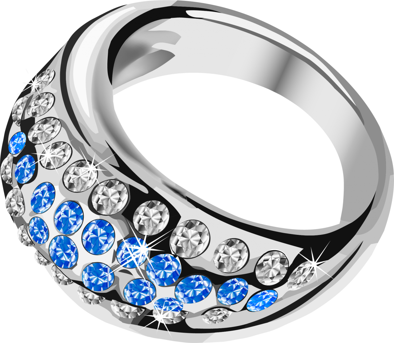 Silver Ring  With Blue Diamond PNG Image