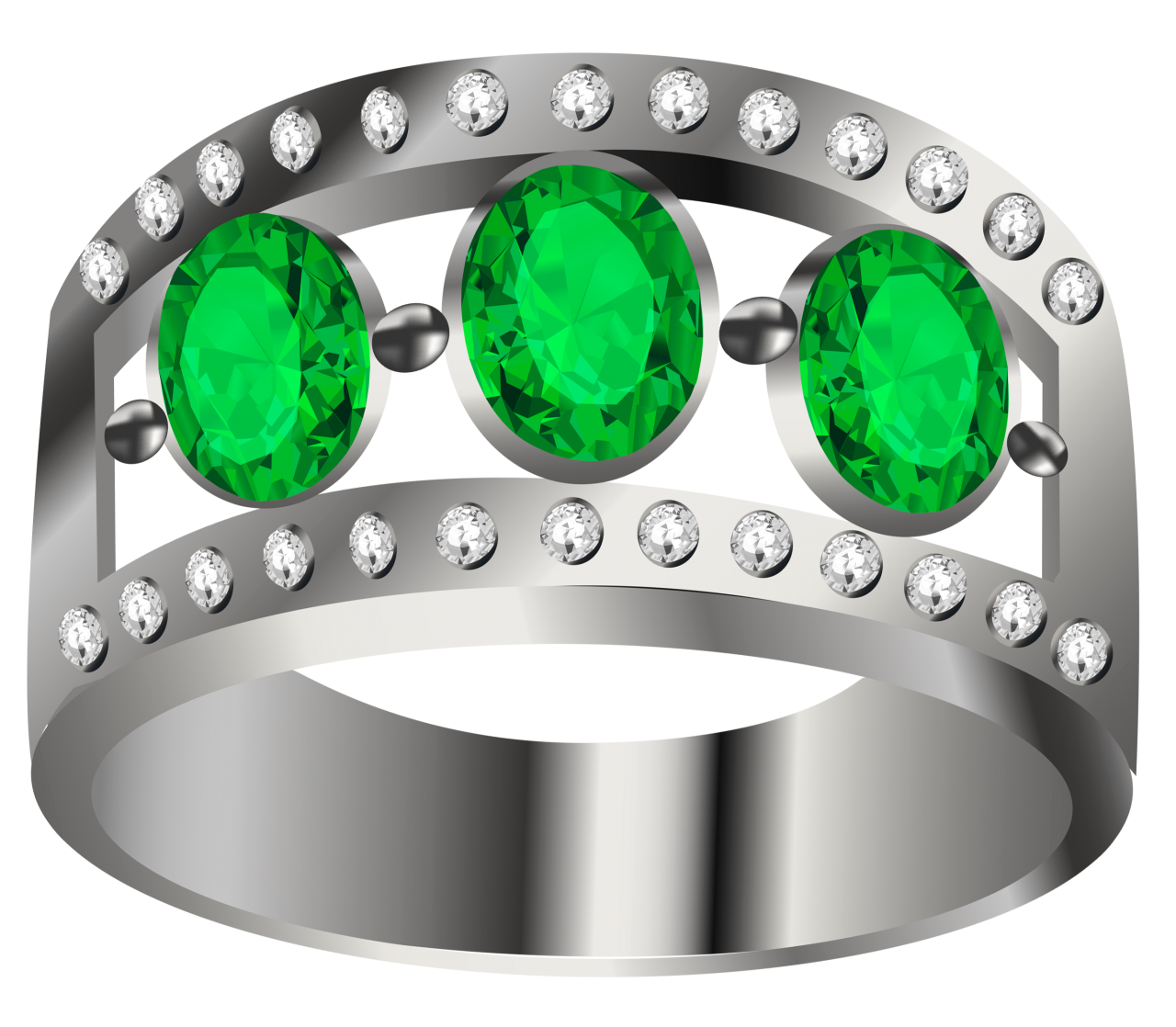 Silver Ring  With Green Diamond PNG Image