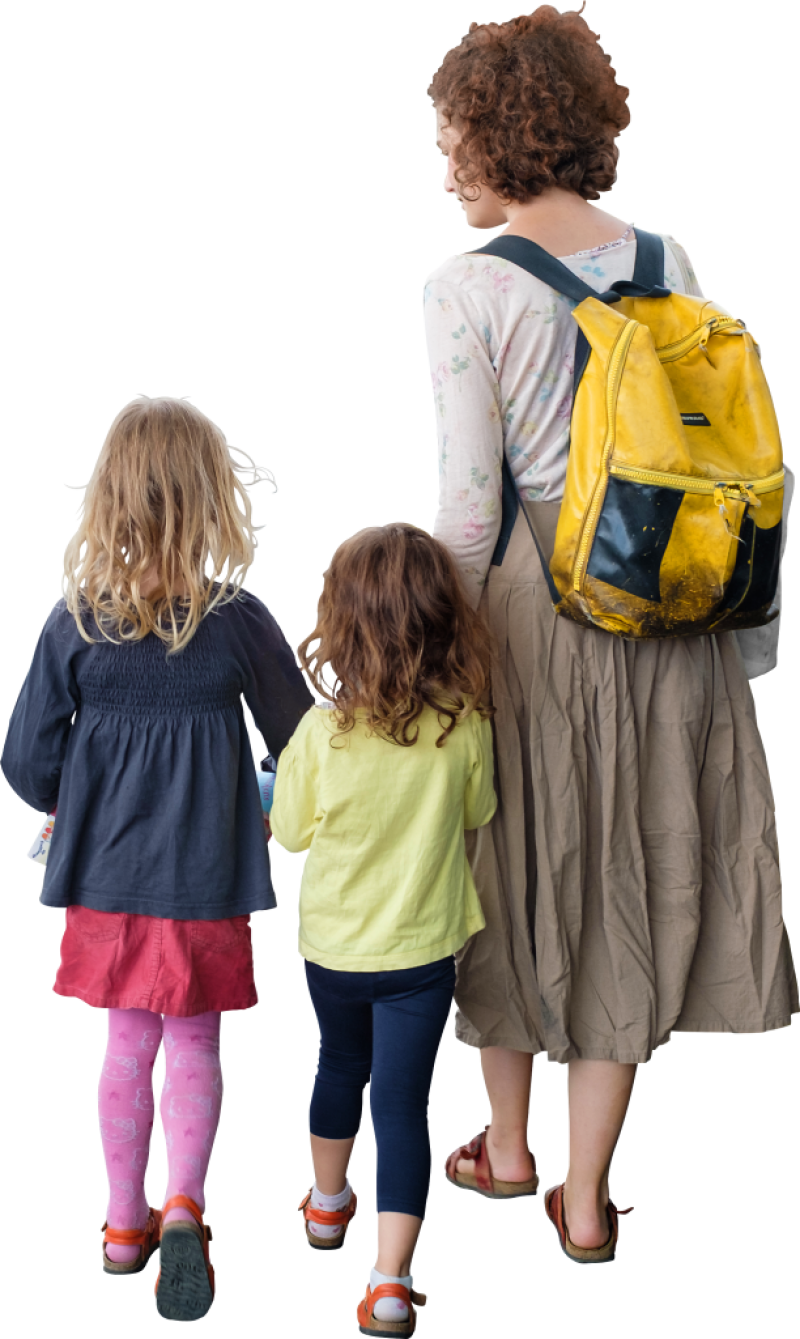 The Children On A Walk PNG Image