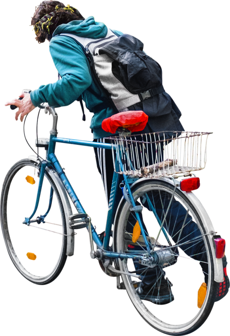 Walking With His Bike PNG Image