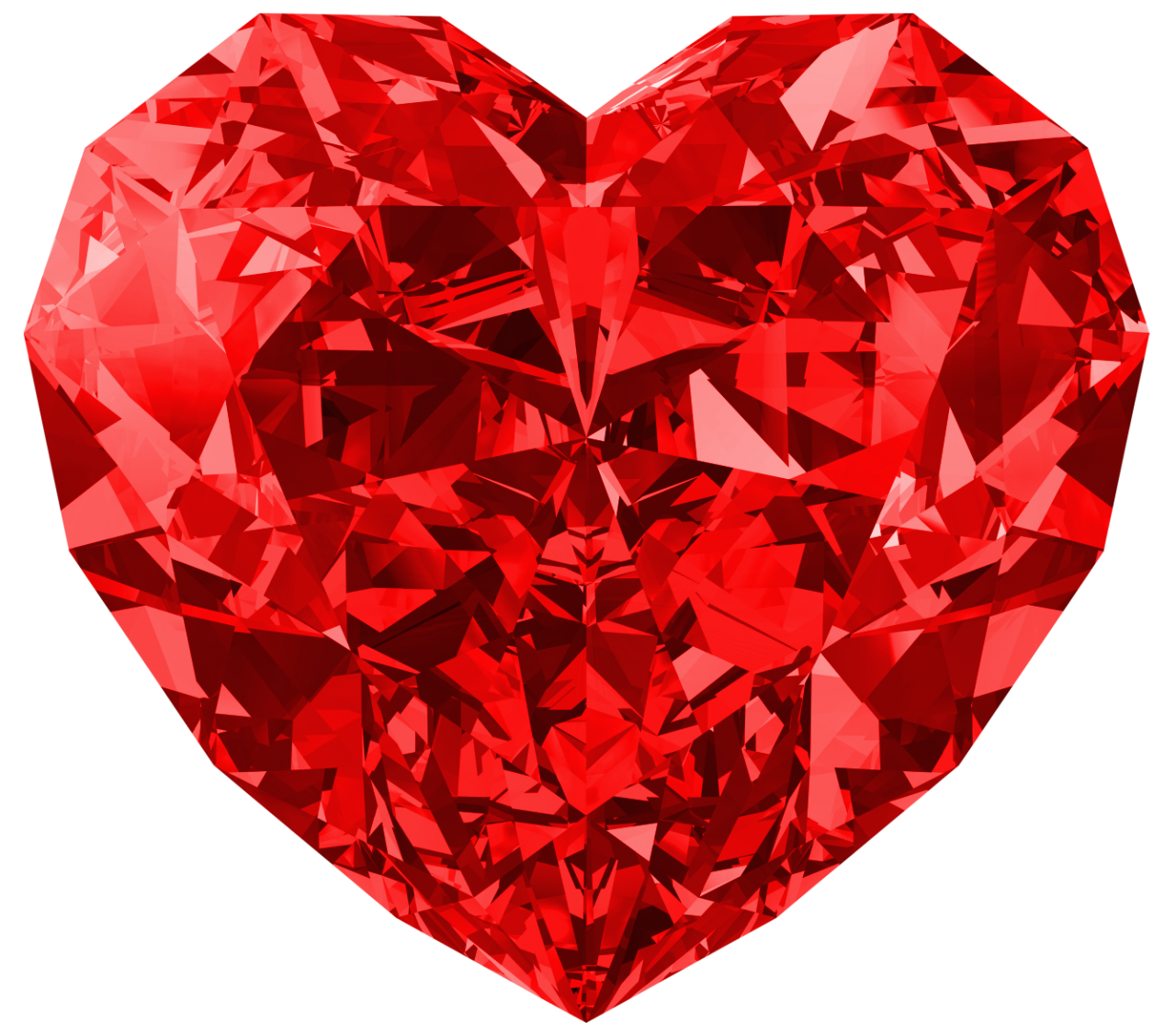 White Red Heart Diamond PNG Image