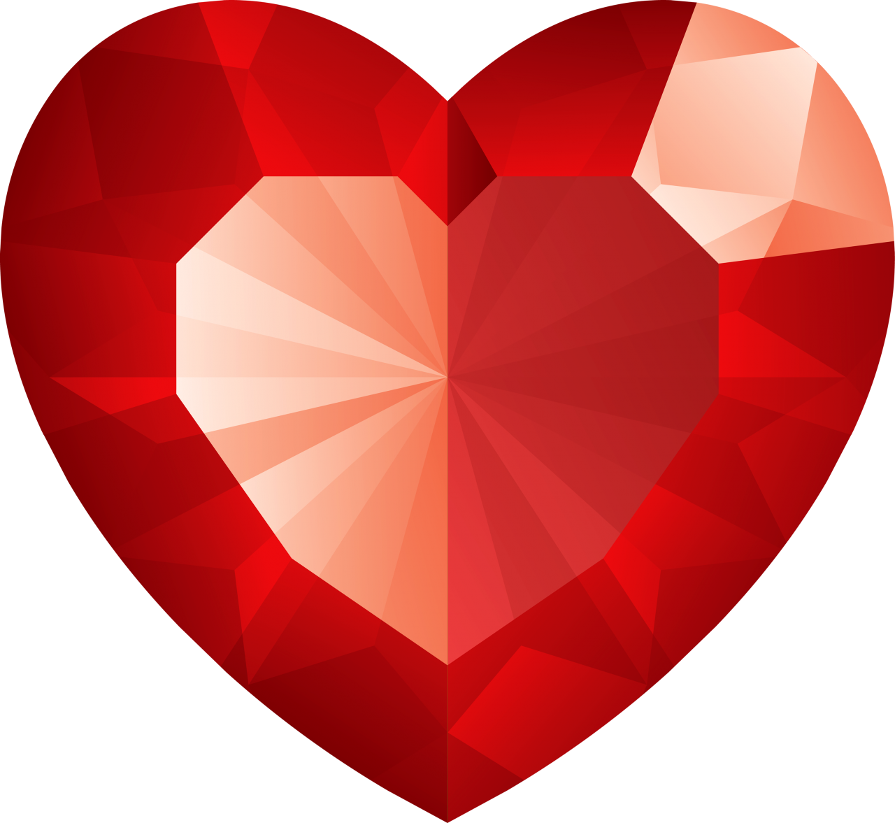 Red Crystal Heart PNG Image
