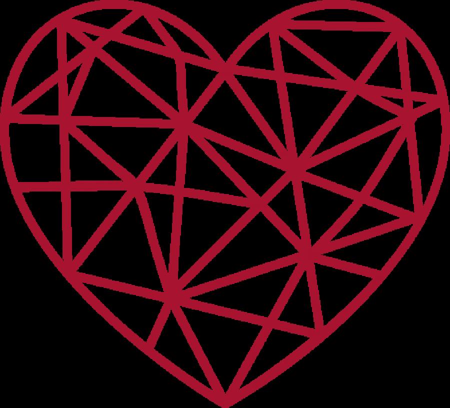 Red Gitter Heart PNG Image