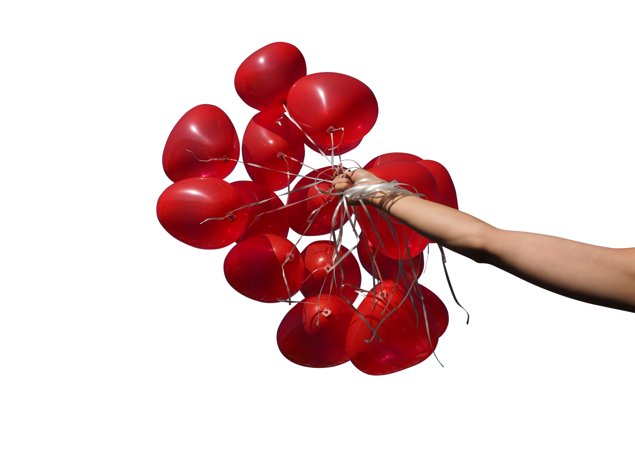 Red Heart Balloons in Hand PNG Image