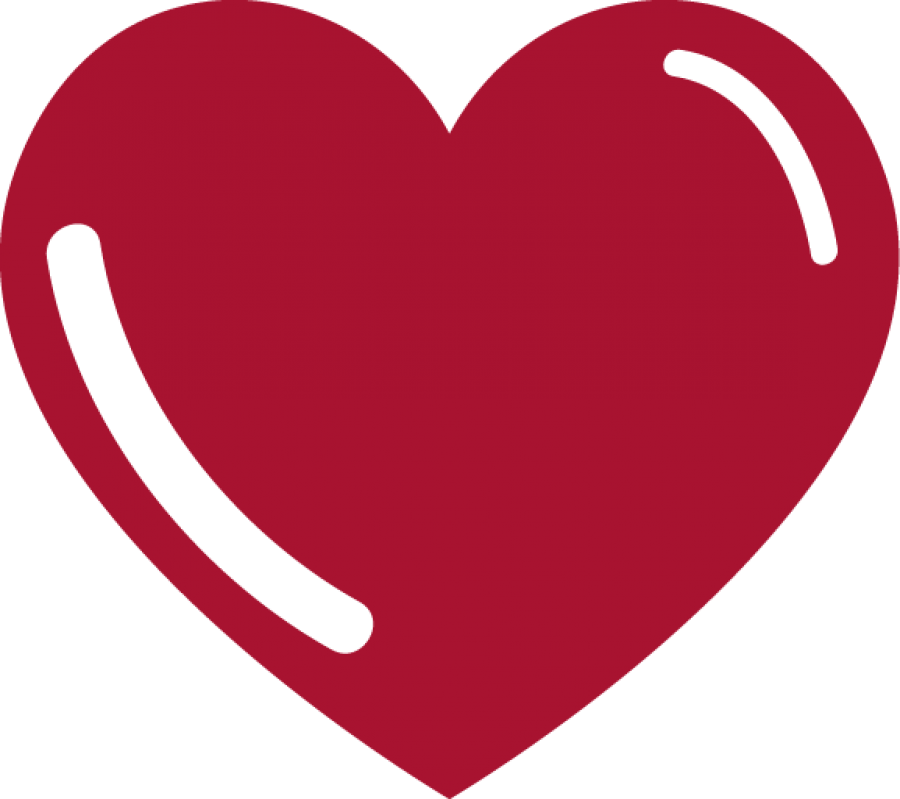 Red Heart with Reflexion PNG Image