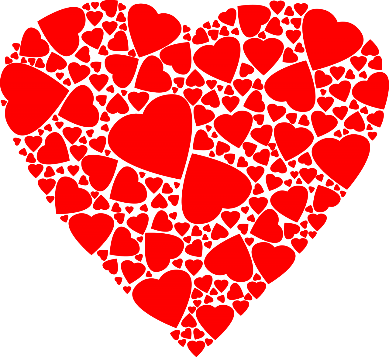 Red Hearts within a Heart PNG Image