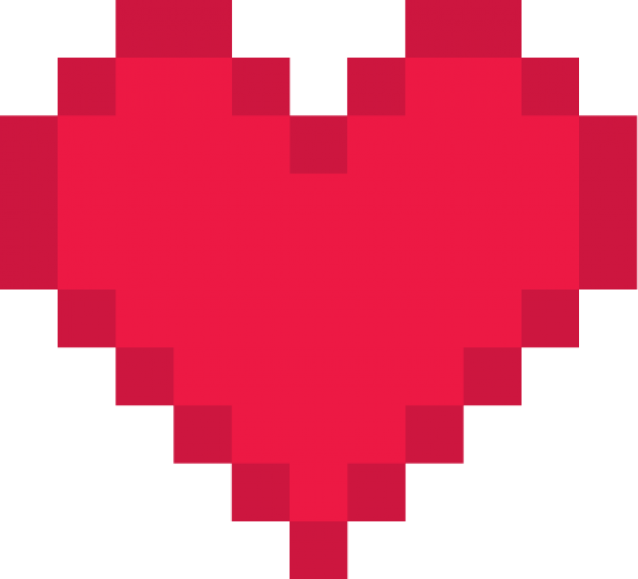 Red Pixel Heart PNG Image