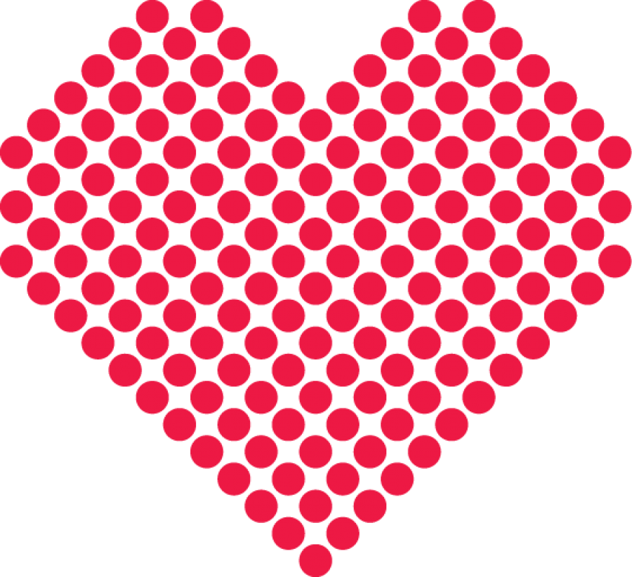 Red Points Heart PNG Image
