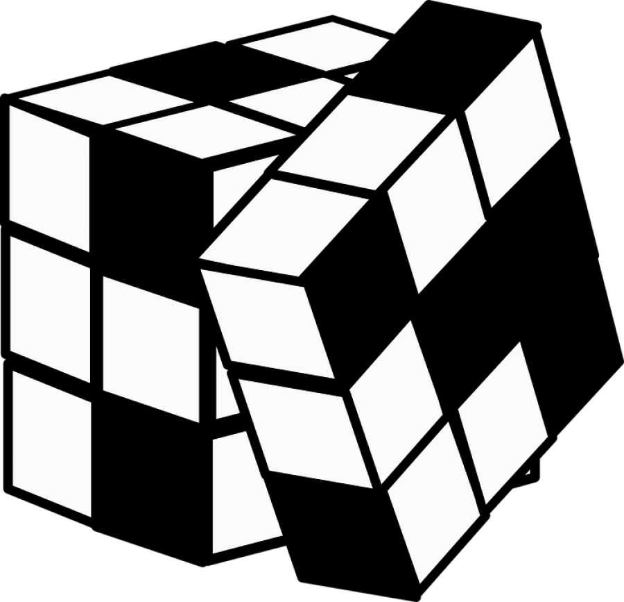 Rubix Cube in Black and White PNG Image