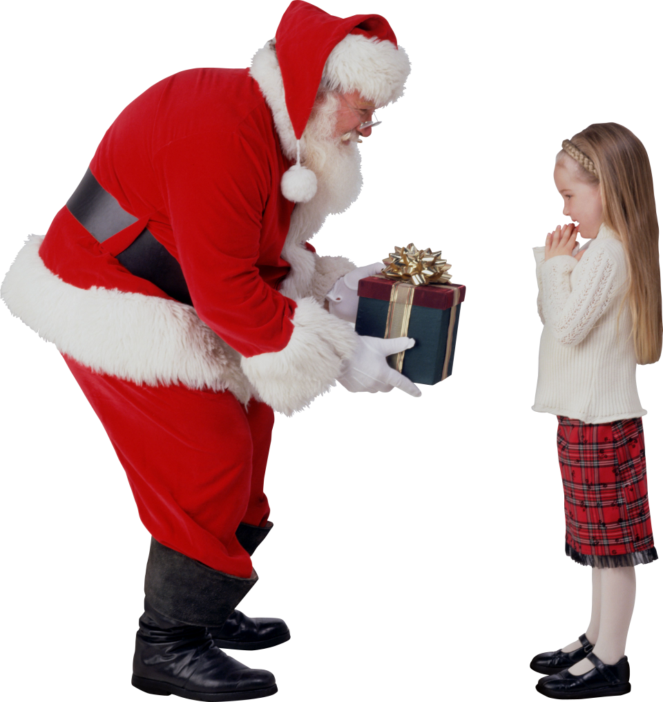 Santa Giving Gift to Child PNG Image