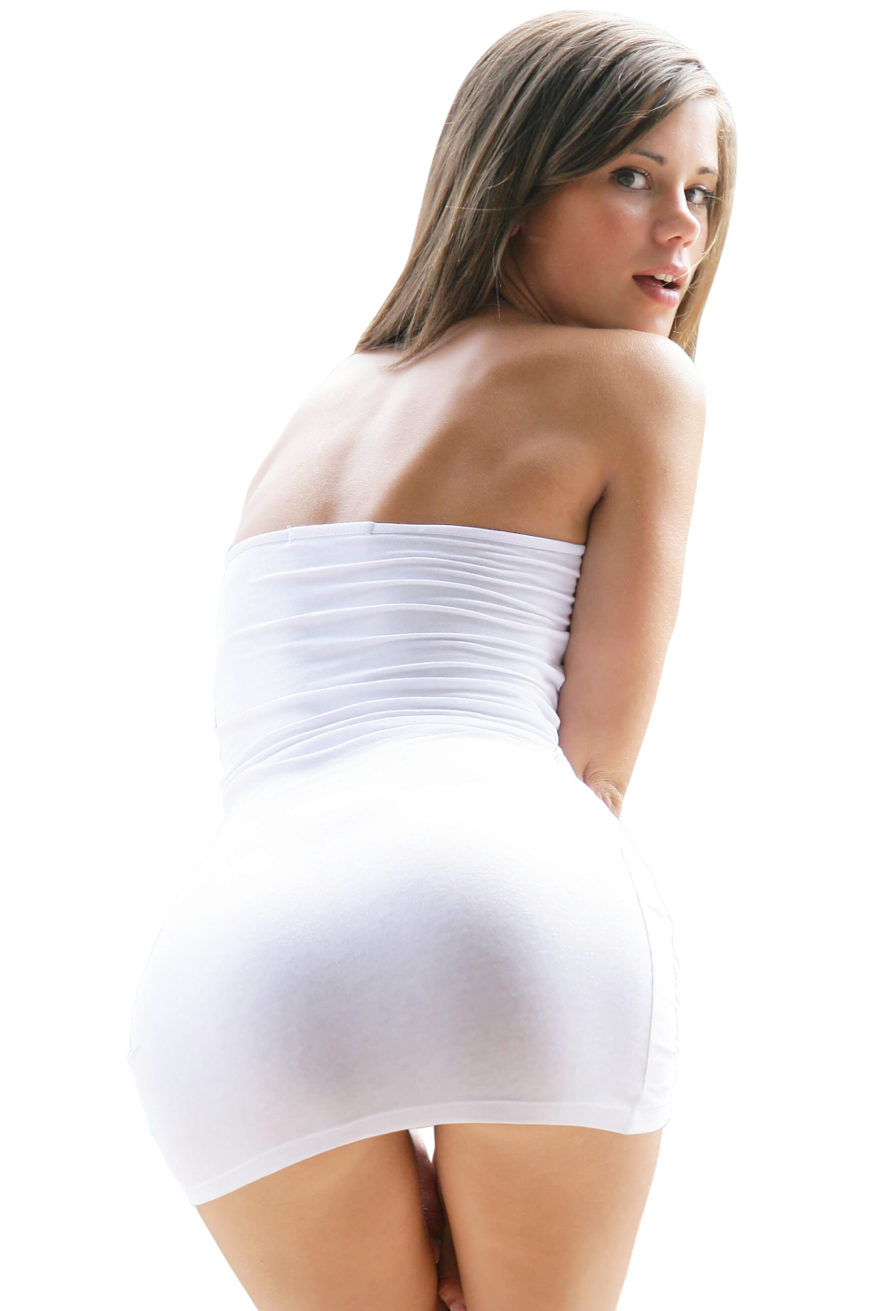 Sexy Little Caprice in White Dress PNG Image