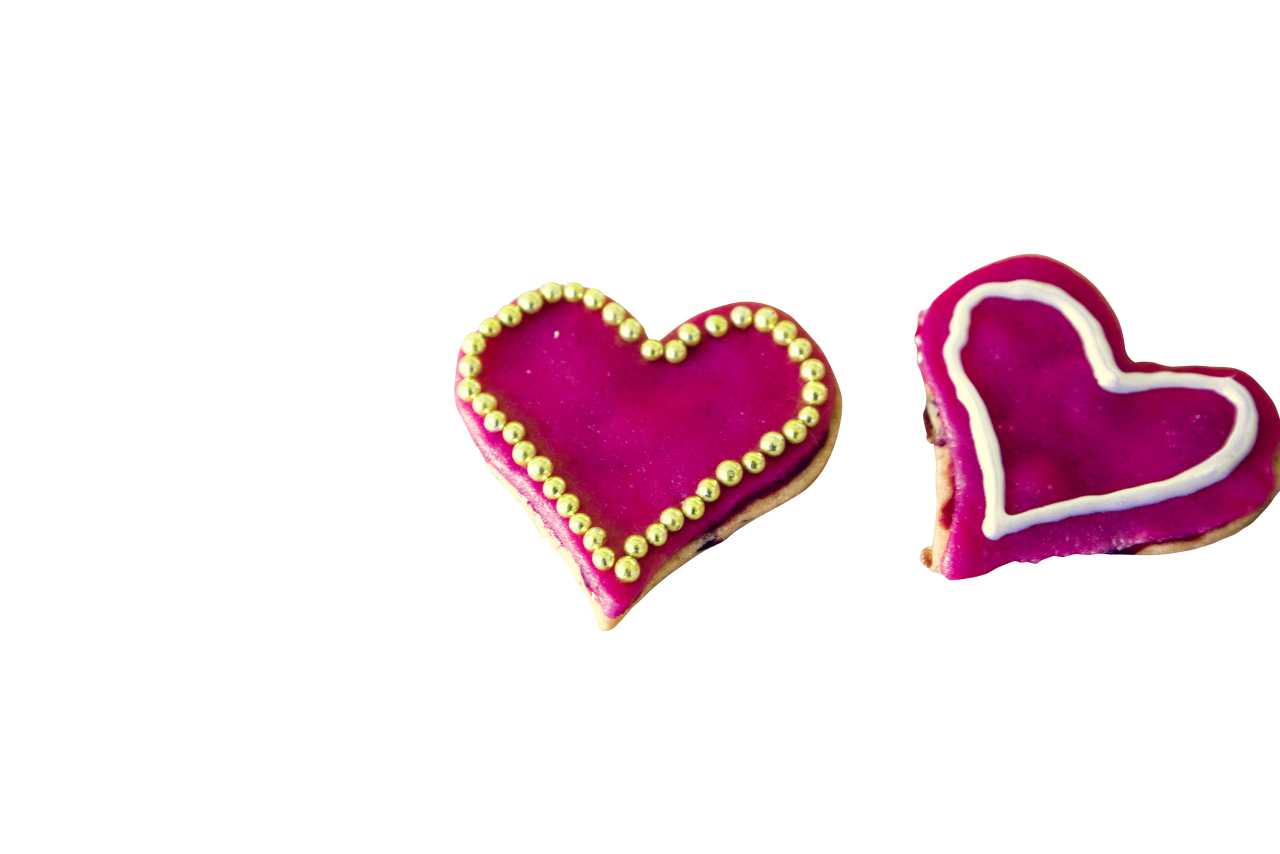 Shocking Pink Heart Creamy Cookie PNG Image