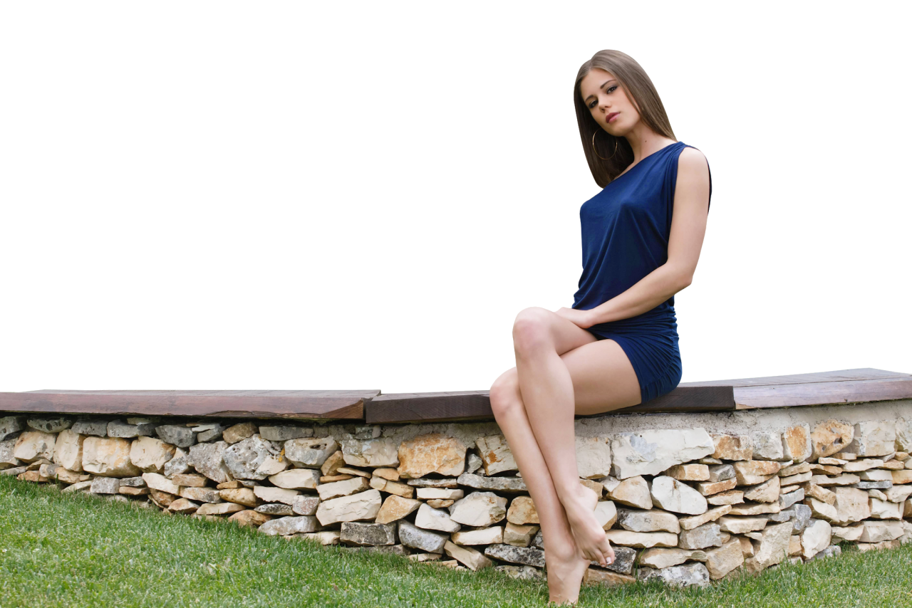Sitting Little Caprice in Blue Dress PNG Image