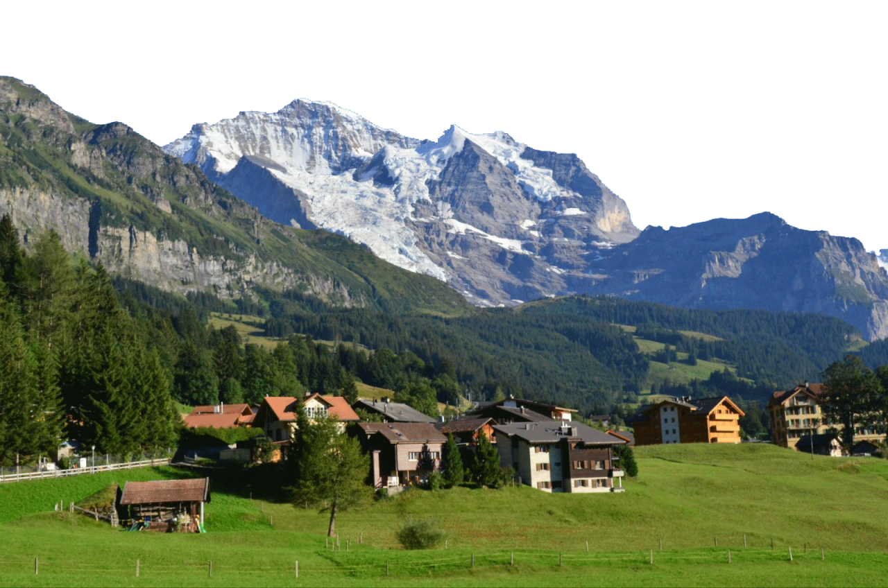 A Small Swiss Community by the snowy alps PNG Image