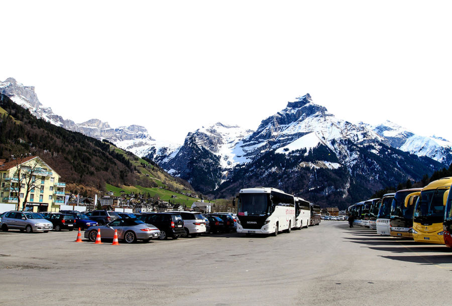 Parked Buses and Cars by the Alps PNG Image