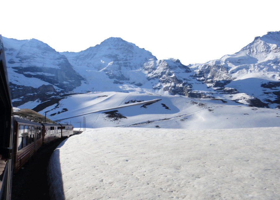 Train ride along the Snowy Swiss Alps PNG Image