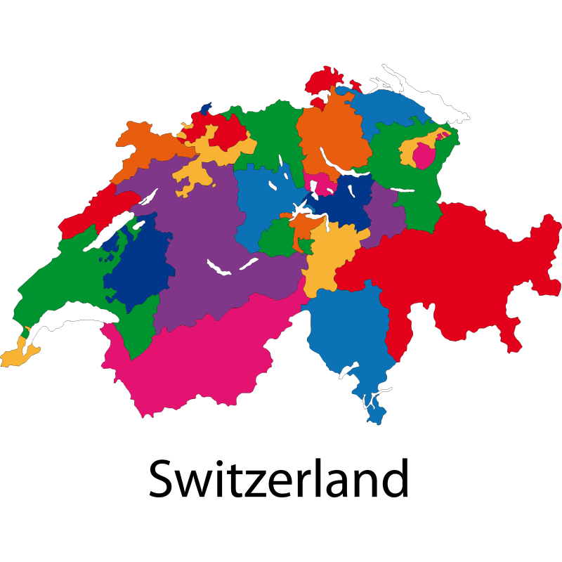 Colourful Map of Switzerland PNG Image