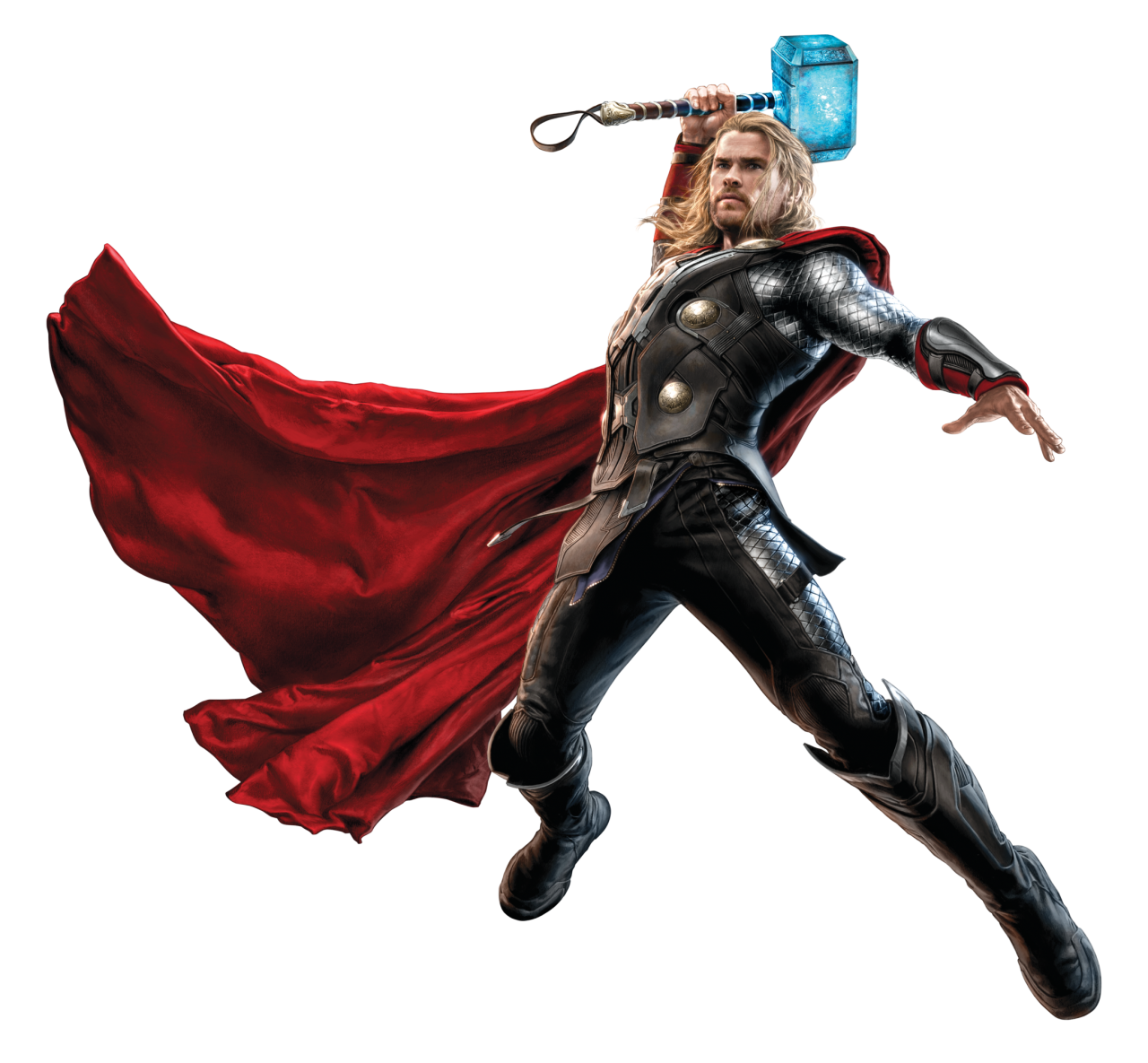 Thor Fighting with his Hammer PNG Image
