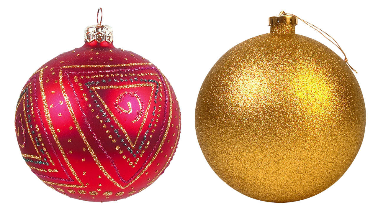 Two Decorated Christmas Bauble PNG Image