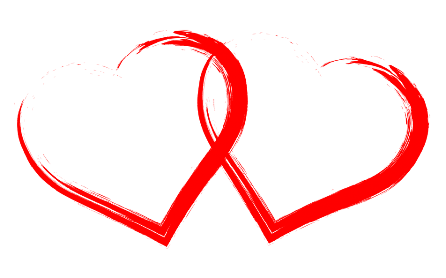 Two Hearts Drawn Red PNG Image