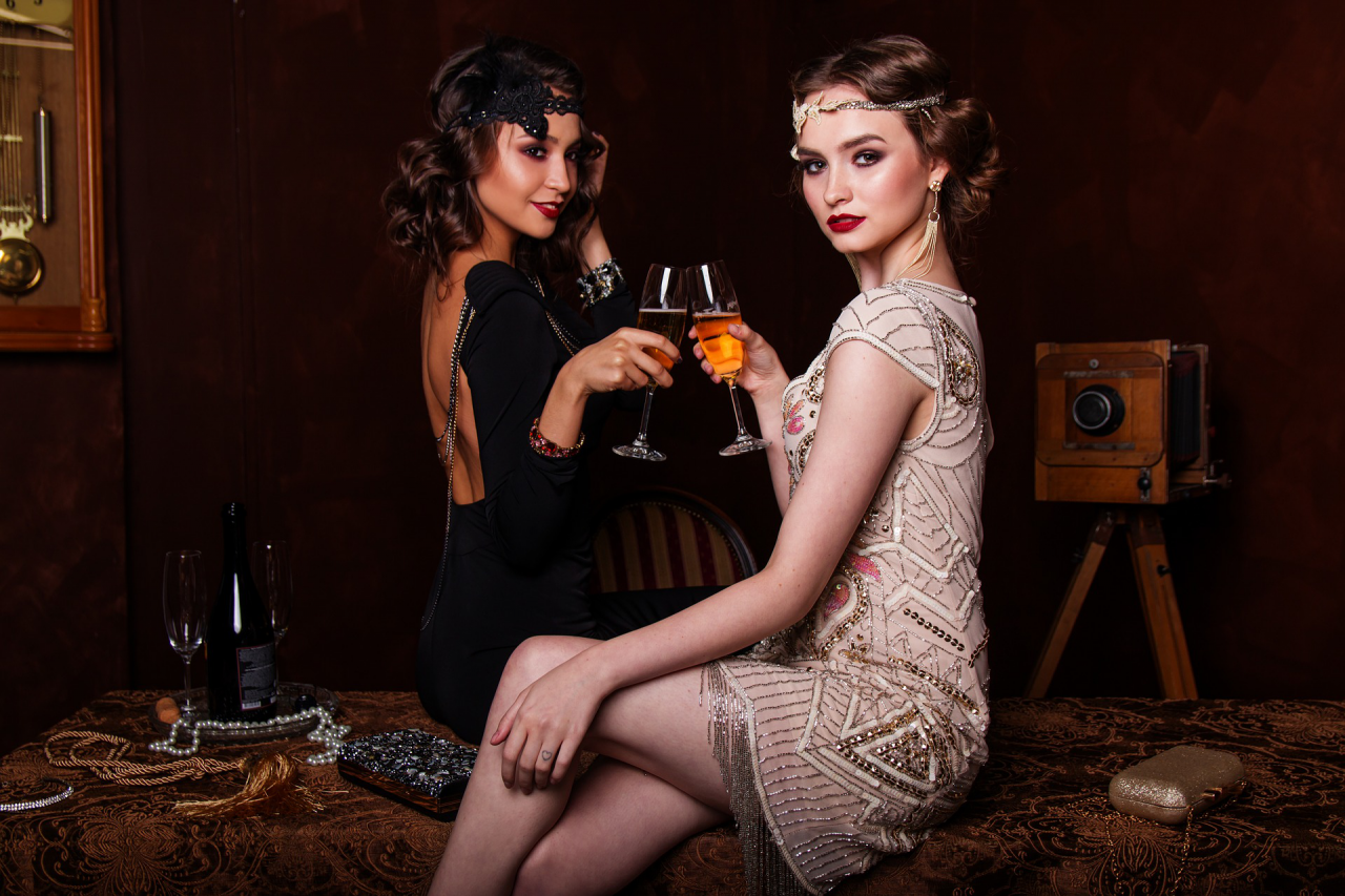 two ladies with wine in style PNG Image