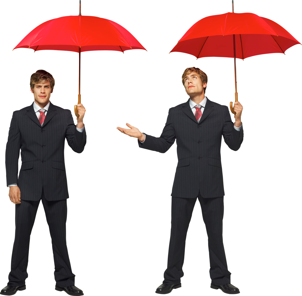 Two Male Twins Businessman Under Red Umbrellas PNG Image