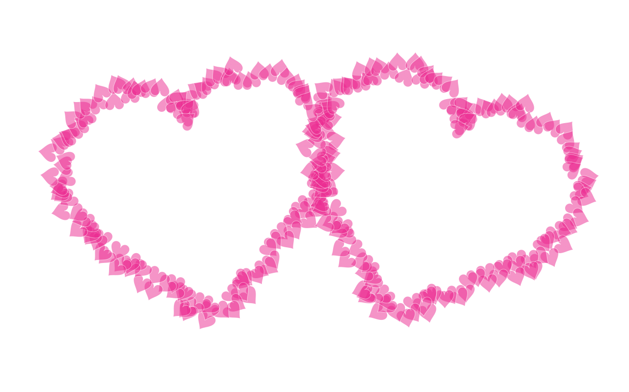 Two Pink Hearts PNG Image