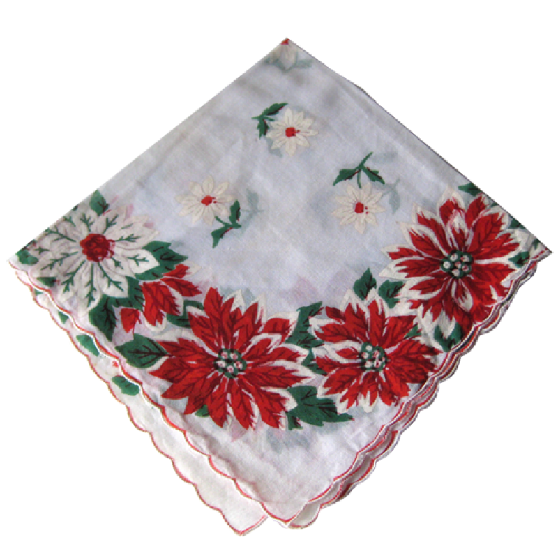 Vintage Christmas Holiday Poinsettia Handkerchief PNG Image