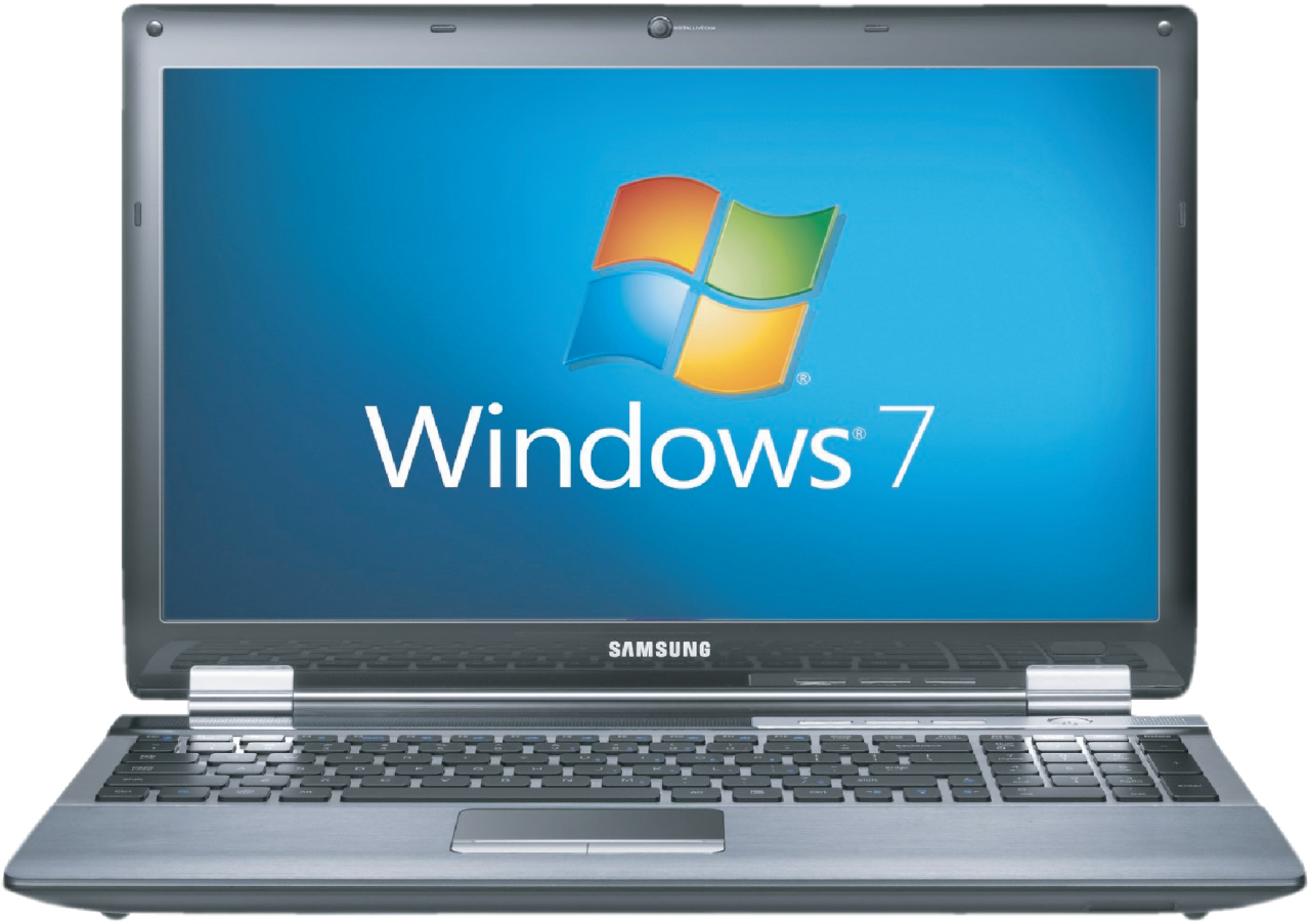 Window 7 installed on Laptop PNG Image