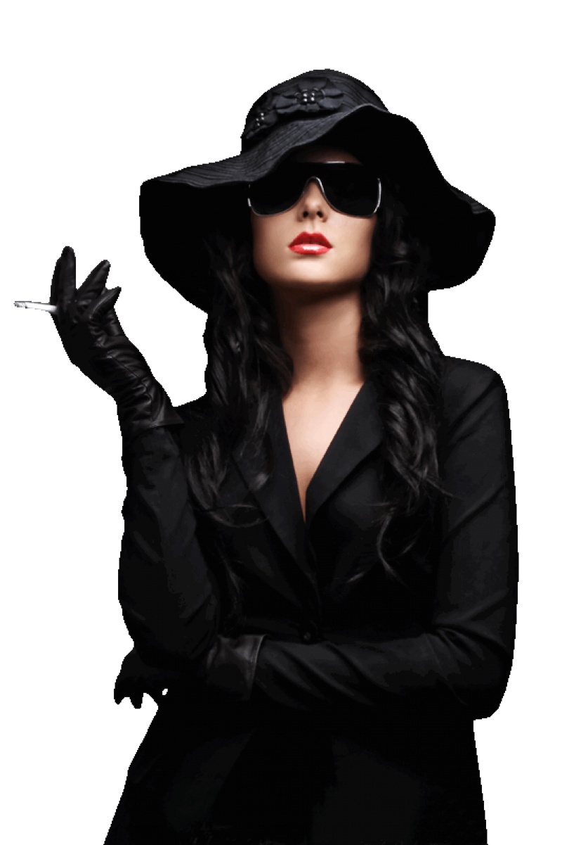 Woman wearing Black with Hat PNG Image