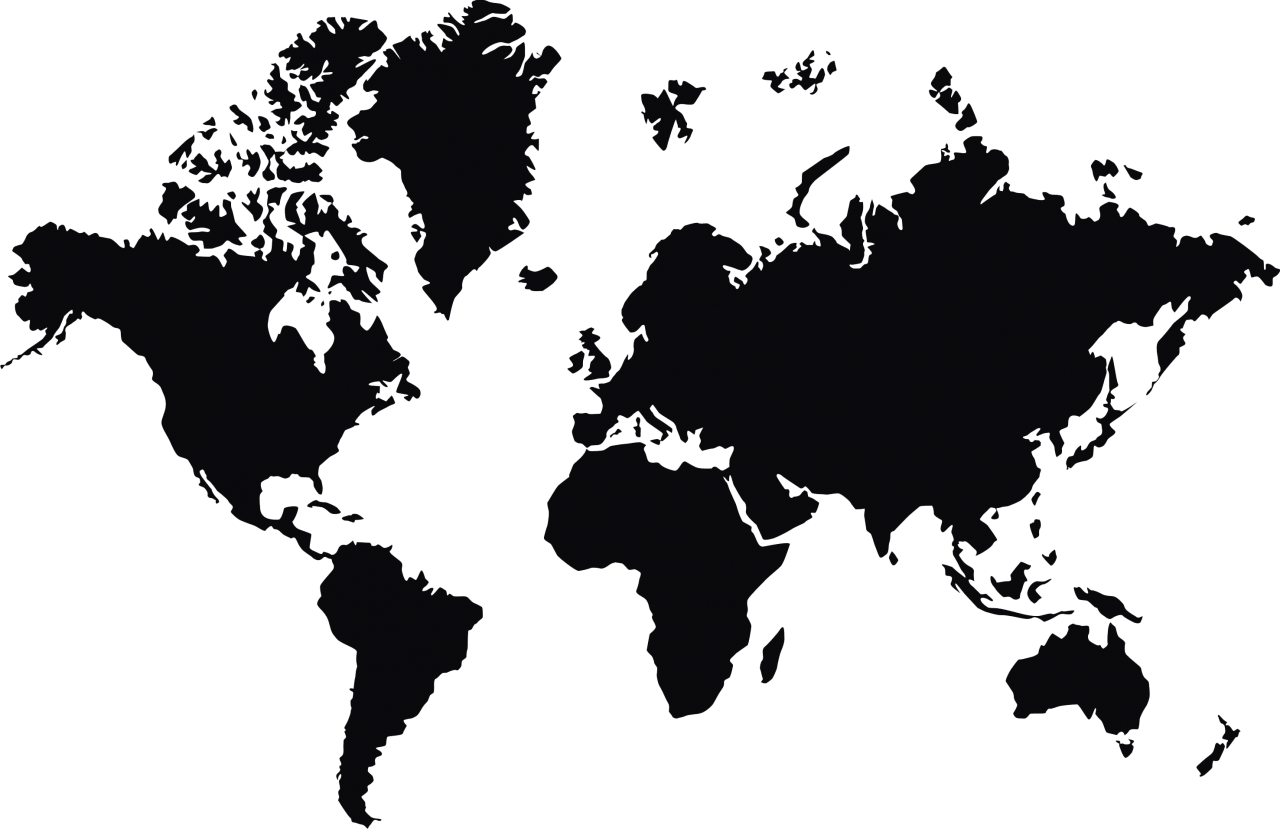 Worlp Map in Black PNG Image
