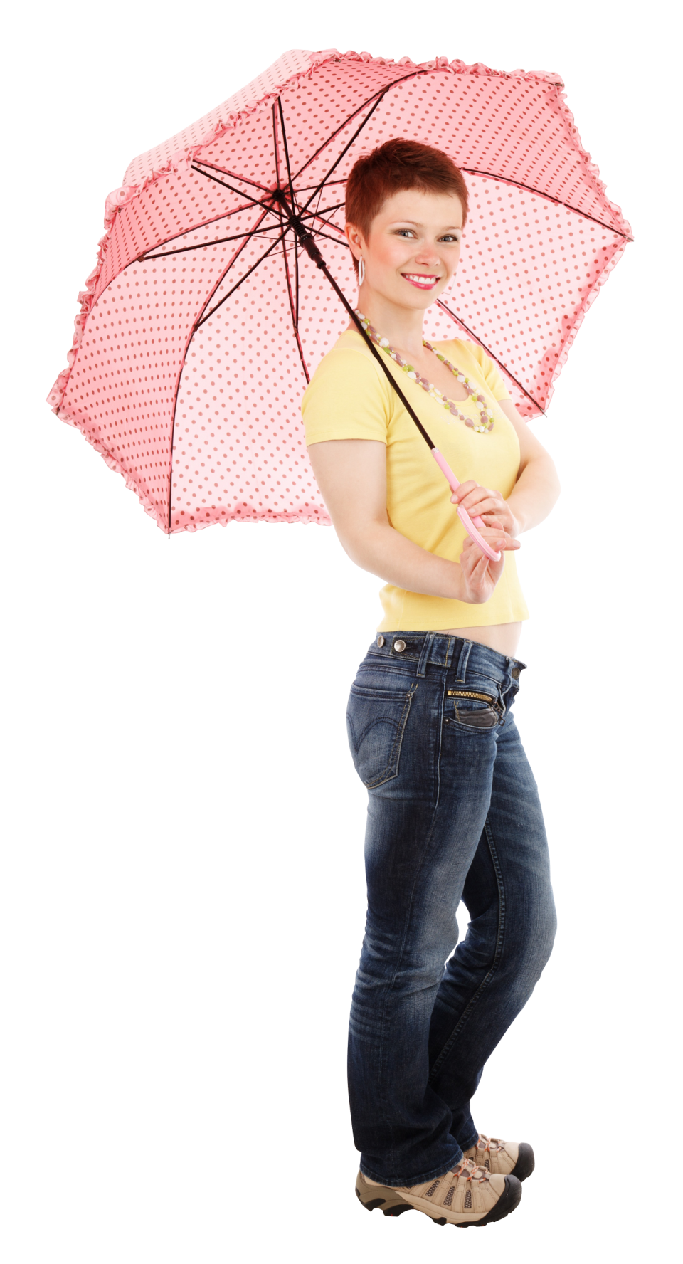 Young Happy Woman Standing With Umbrella PNG Image