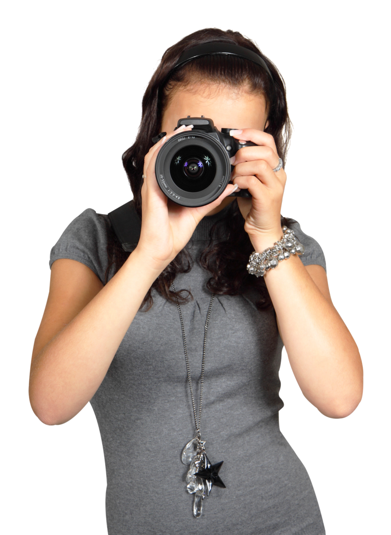 Young Woman with Digital Photo Camera PNG Image