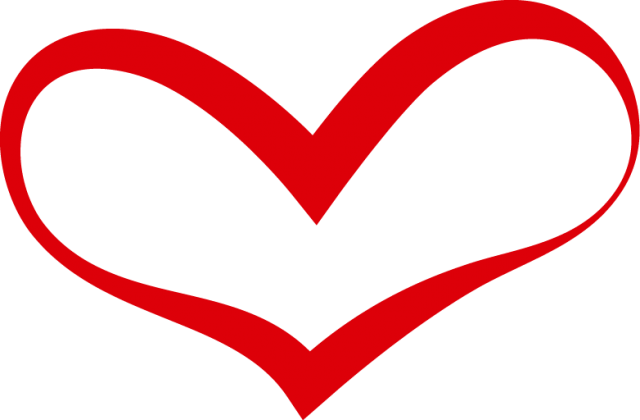Curved Red Heart Outline PNG Image