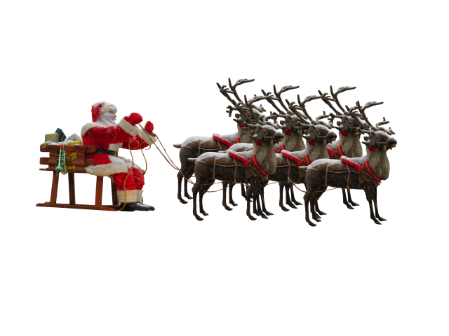 Santa Claus in Sleigh with Reindeers PNG Image