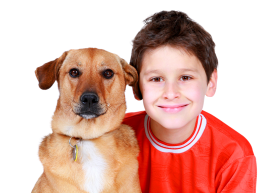 A boy with a dog PNG