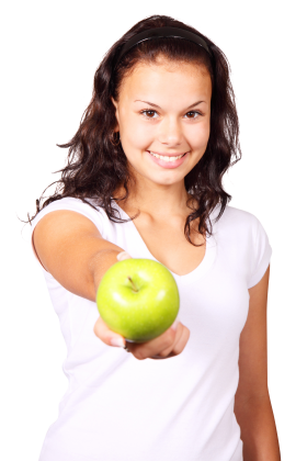A girl hold apple in her hand PNG