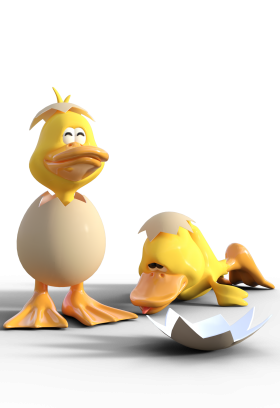 anime Baby Ducks in Eggs Shell PNG