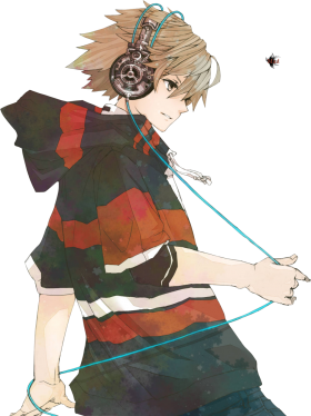 Anime Boy is listening Music PNG