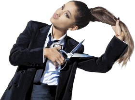 Ariana Grande Cutting her Hairs Off PNG