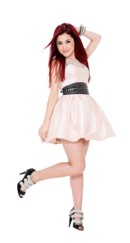 Ariana Grande In a White Rock PNG
