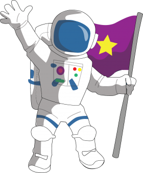 Astronaut hold Flag in Hand PNG