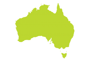 Australia Map in Green PNG