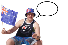 Australian Person with Speach Bubble Sitting PNG