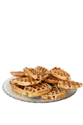 Baked Brown Waffles in a Plate PNG