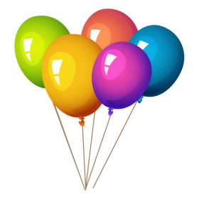 Rainbow Colored Balloons PNG