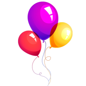 Flying Birthday Balloons PNG