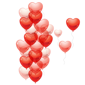 Heart Shaped Balloons Flying PNG