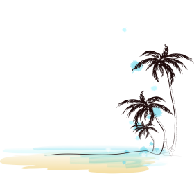 Drawing of Beach with Coconut Trees PNG